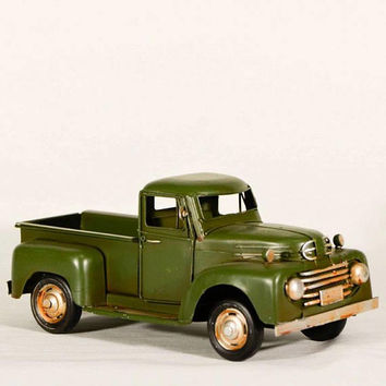 Vintage, green pick-up, retro style, collectible truck miniature, metal collectible olive green truck, men's gift truck, rustic truck decor
