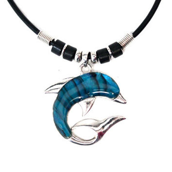 90s hologram DOLPHIN Necklace