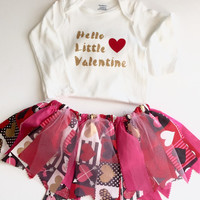 Baby Valentine Outfit - Valentine Onsie, Fabric Skirt, Headband, Girl Valentine Outfit, Baby Valentine Skirt, Holiday Outfit, Girl Skirt