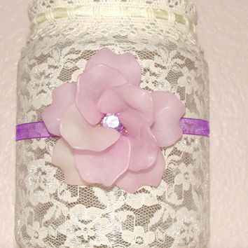 Vintage vase, Wedding centerpiece decor, Lace glass vase, Vintage mason jar , Home Decor, Quinceanera, Baby showers, Bridal showers