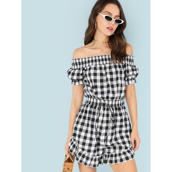 Black And White Embroidered Detail Ruffle Trim Tassel Tie Waist Plaid Romper