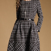 Black Plaid Side Pocket Long Sleeve Skater Dress