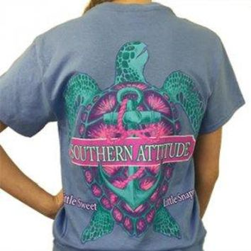 "Southern Attitude ""Snappy Turtle"" Short Sleeve Tee"