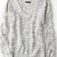 AEO Women's Textured V-neck Sweater (Light Grey)