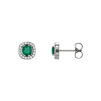 Created Emerald & Diamond Halo 7mm Stud Earrings in 14k White Gold
