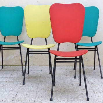 4 chairs French vintage multicolor