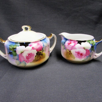 Vintage Noritake Morimura Hand Painted in Japan Cream and Sugar Set | Porcelain Creamer and Sugar Pink Roses Black Green and Blue Background