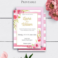 Floral Invitation Wedding Printable, Watercolor Rose, Gold Romantic Invitations, Striped, Printable Invite, Customized, Wedding Printable