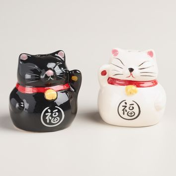 Lucky Cat Salt and Pepper Shaker Set