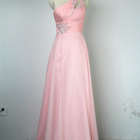 A-line One Shoulder Long Chiffon over Satin Prom Dress with Applique and Beading, Chiffon Long Prom Dresses