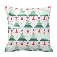 Modern Christmas Trees Pattern Throw Pillow