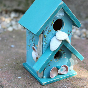 Coastal Birdhouse Hand Painted With Artistic Shell , Driftwood & Sea Glass - One of a Kind Beach House  Decor