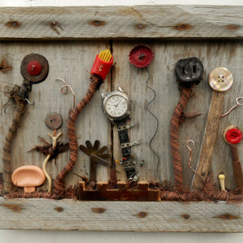 SALE Garden art Assemblage, Vintage Found Objects on reclaimed wood