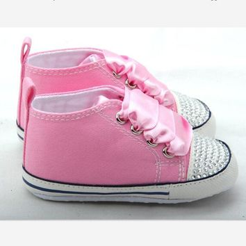 Baby Bling Newborn Infant Baby Girl High Top Shoes with Rhinestones