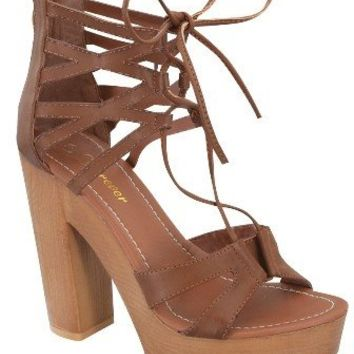 Lace Up Platform Ankle Sandal - Tan