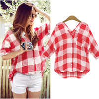 2016 New Arrive women checkered shirts Plaid Cotton Red Shirt V-Neck Tops Blusa Feminina Summer Plus Size S-5XL Women's Blouses