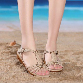Streetstyle  Casual Big Size Knitting Beaded Strappy Buckle Peep Toe Flat Chunky Heel Sandals