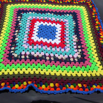 Hand Crocheted Small Granny Square Lapghan or Baby Afghan