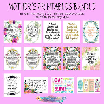 Mother's Day Printables Bundle, Scripture Prints, Mothers Day Print Gift, Christian Mom Gift, Mom Printables, Printable Bible Verse Bookmark