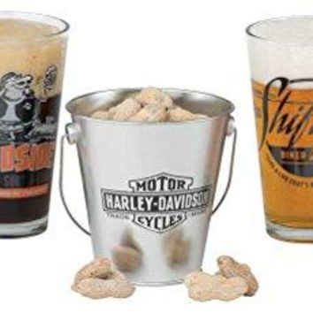 Harley-Davidson Pit Stop Pint Glasses & Snack Set, Set of 4 - 16 oz. HDL-18785