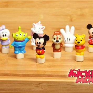 60pcs 1.8cm classical mickey mouse and friends action figures minnie mouse marie cat alien donald duck anime figure mixed design