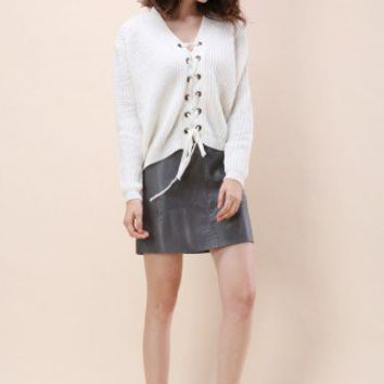 Lace-up Rhythm Sweater in White - Retro, Indie and Unique Fashion