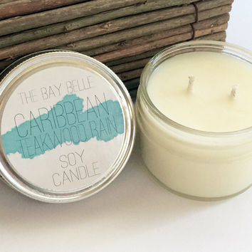 Caribbean Teakwood Rain Soy Candle - Candle Gift Ideas - Natural Soy Candle - Mason Jar Candle Made in California - Fresh Air + Rain Scent -