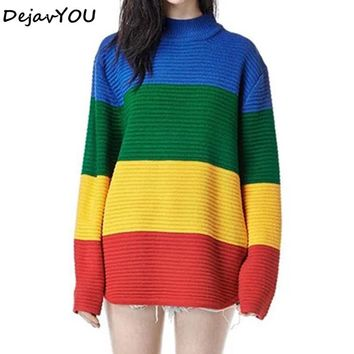 New Vintage casual Jumper Long Sleeve Rainbow Sweater Loose hit color turtleneck Stripe Knitted Pullover Womens