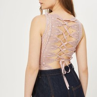 Trim Lace Up Back Body | Topshop