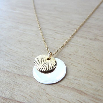 Double Disc Necklace - Sterling Silver and Gold Seashell Disc by Yameyu