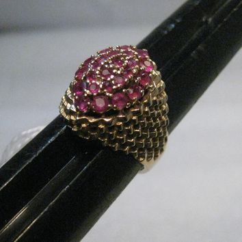14kt Ruby Tiered Cluster Ring, appx. 1tcw, 24 rubies, size 6, 6.64 gr, 1960's, Wide