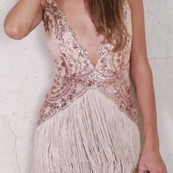 Shake It Out Sequin Fringe Sleeveless Spaghetti Strap V Neck Mini Dress - 2 Colors Available