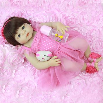 NPK Full Silicone Body 23'' Baby Doll Toys For Girl Lifelike Babies Reborn Doll Real Princess Wear Pink Dress For Children Gift