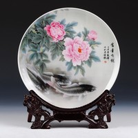 2016 VintageHome Decor Ceramic Ornamental Plate Chinese Decoration Dish Plate Wood Base Porcelain Fish Plate Set Wedding Gift