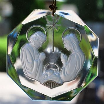 Clear Frosted Nativity Ornament, Holy Family, Mary, Jesus & St. Joseph