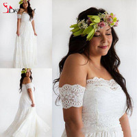 2016 Romantic Plus Size Bohemian Wedding Dresses Sexy Off the Shoulder short sleeve A Line Lace Bridal Gowns Custom Made