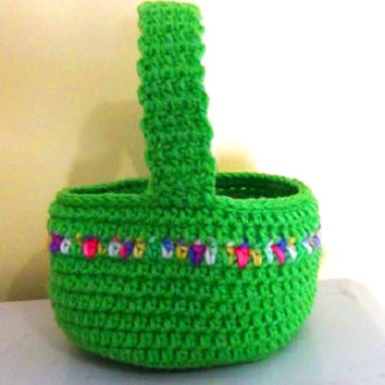 Crocheted Easter Basket - Bright Spring Basket - Green with variegated stripe