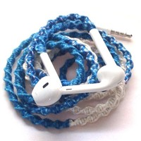 MyBuds Wrapped Tangle-Free Earbuds for iPhone | Sand and Sea | with Microphone and Volume Control