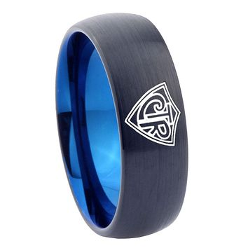 8mm CTR Design Dome Tungsten Carbide Blue Mens Ring Engraved
