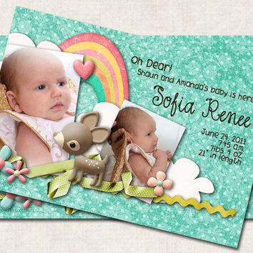 Oh Deer Baby Birth Announcement / Thank by missbellaexpressions
