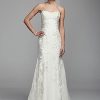 Strapless Chiffon Trumpet Gown with Ribbon Sash - David's Bridal