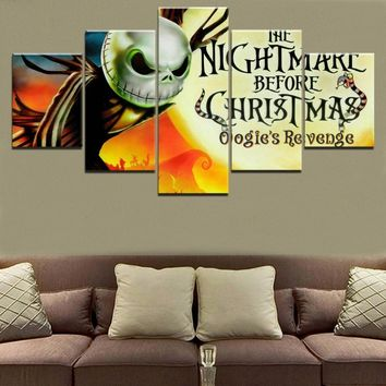 Wall Art Canvas Painting 5 Pieces Movie The Nightmare Before Christmas Poster  Modern Decorative Living Room HD Print Pictures