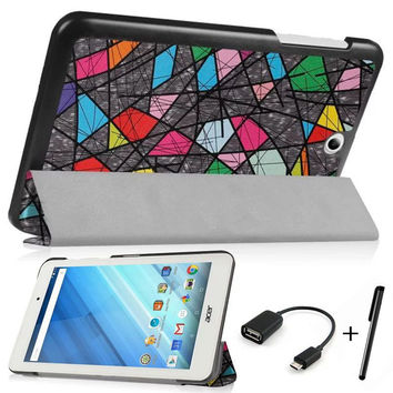 """Hot Sale ! Stand Flip Printing PU Leather Magnetic Cover for Acer Iconia One 8 B1-850/ B1 850 8.0"""" Tablet Case With Free OTG+Pen"""