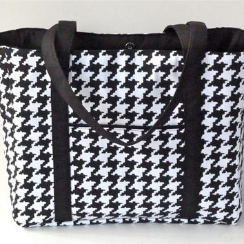 Black and White Houndstooth Tote Bag/Diaper Bag