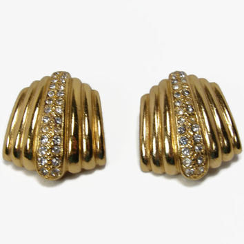Christian Dior Rhinestone Earrings, Clip On, Vintage Jewelry, Gold Tone, 1980s Earrings, Estate Jewelry, Designer Earrings, Earrings