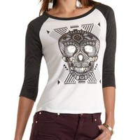 Foiled Skull Graphic Baseball Tee by Charlotte Russe
