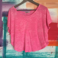 Hot Pink Cropped Tee (Small/Indie Brands)
