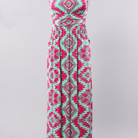 Palm Springs Weekend Maxi Dress- Mint and Pink - Hazel & Olive