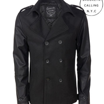 Aeropostale  Brooklyn Calling Faux Leather Sleeve Peacoat