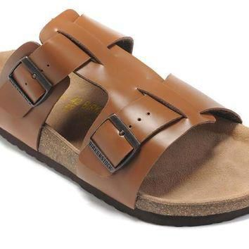 Hot Sale Birkenstock Summer Fashion Leather Cork Flats Beach Lovers Slippers Casual Sa